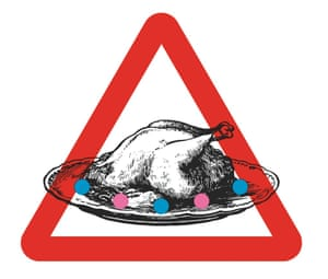 Illustration of a turkey with a red road sign around it