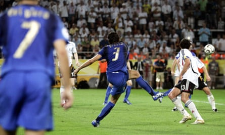 Fabio Grosso scores the  for Italy. after Andrea Pirlo's pass.