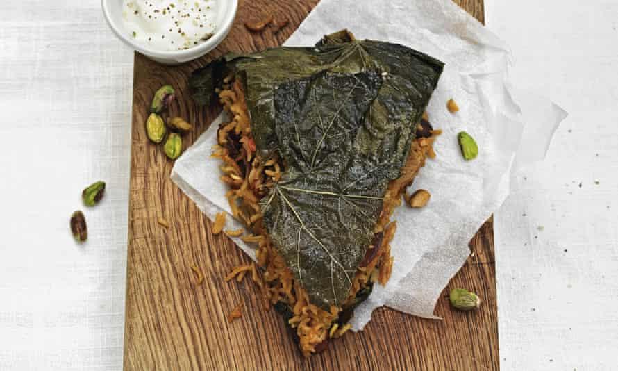 Persian vine leaf and saffron ricetart