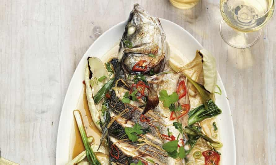 Whole roast sea bass with soy andginger
