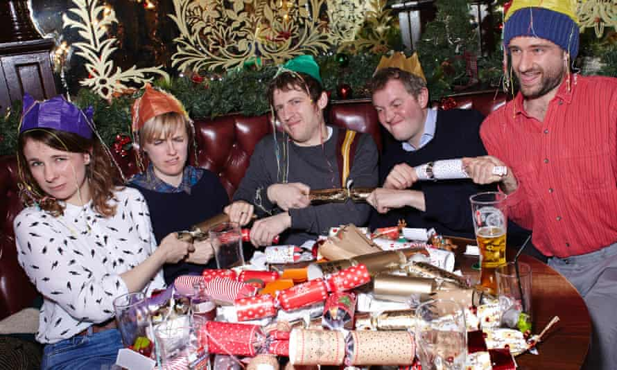 Cariad Lloyd, Holly Walsh, Elis James, Miles Jupp and Ben Target pull their crackers