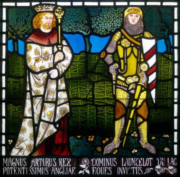 William Morris panel depicting King Arthur and Sir Lancelot.