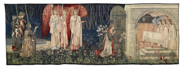 A tapestry created in part by William Morris and showing the Arthurian knights Sir Galahad, Sir Bors and Sir Percival seeing the Holy Grail