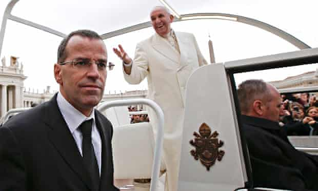 Commander of the Swiss Guard Daniel Anrig and Pope Francis