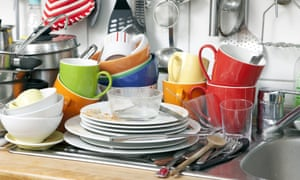 Pile of dirty dishes