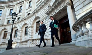 George Osborne and Danny Alexander leave the Treasury to present the autumn statement