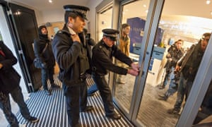 Police arrive at Universities UK in London after it was occupied by student protesters