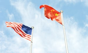 American and Chinese flags.