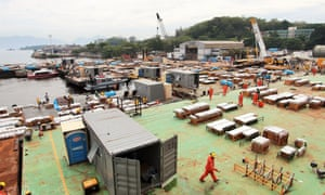 Fireworks are readied before being loaded on to barges in Rio de Janeiro.