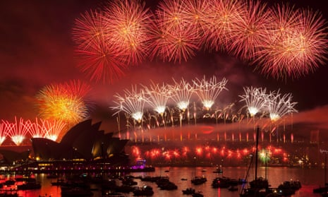 Fireworks light up the New Year over Sydney Harbour, Australia.