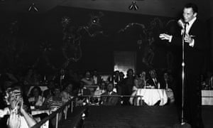 Frank Sinatra singing at the opening of the new Ziegfeld Follies at the Sands in Las Vegas.