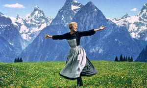 The hills are alive! … and well and about to celebrate a 50th birthday. Julie Andrews in a scene from The Sound of Music.