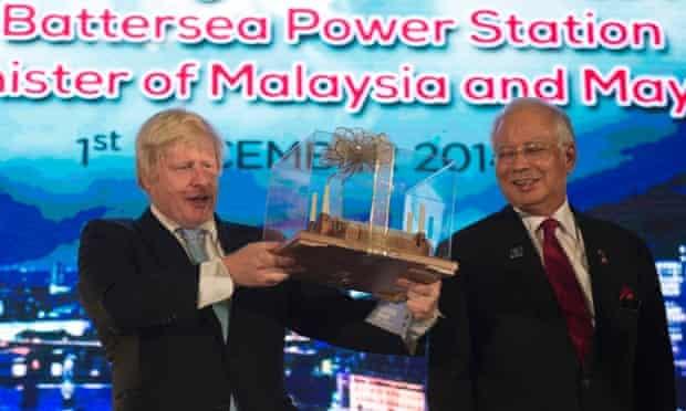 London mayor Boris Johnson unveils the design of Malaysia Square at Battersea Power Station with Najib Razak, prime minister of Malaysia, in Putrajaya.