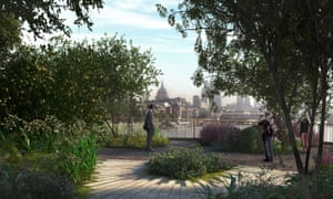 An artist's impression made available by Arup showing a view from the proposed London Garden Bridge.