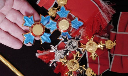 Male and female CBE, MBE, OBE medals