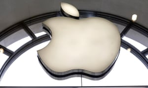 The Apple logo  outside the Apple shop on Regents Street, central London.