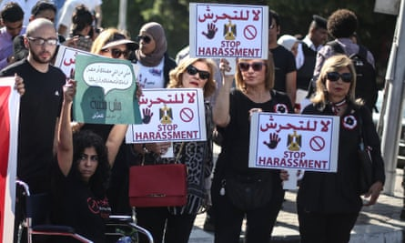 People take part in a protest in Cairo against sexual harassment.