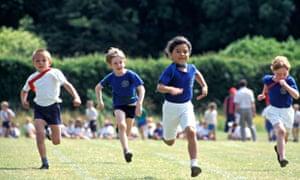 primary school children in running race