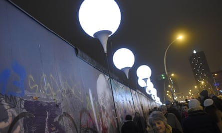 Some of the 7,000 light balloons placed along the course of the Berlin Wall and released to celebrate the 25th anniversary of its fall.