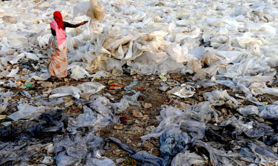 Plastic waste at dump on the outskirts of Mumbai. India is pioneering technology to convert such rubbish into fuel.