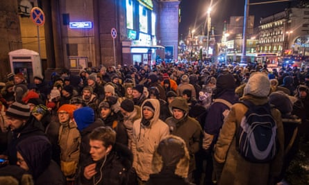 Opposition supporters gather during an unauthorised rally in support of Alexei and Oleg Navalny in central Moscow on 30 December, 2014.
