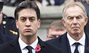 Ed Miliband and Tony Blair at the Cenotaph