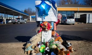 A memorial to Antonio Martin, who was fatally shot by police, is seen in Berkeley, Missouri on Christmas Day.