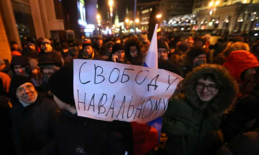 This sign at the rally to support the Navalny brothers reads: 'Free Navalny'.