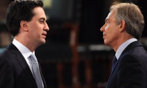 Labour leader Ed Miliband and former PM Tony Blair, who apparently cast doubt on whether Labour can win the general election.