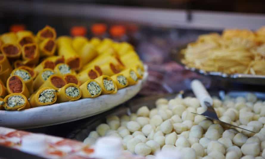 Mini cannelloni in a shop in Milan.