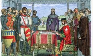 King John signing Magna Carta at Runnymeade 15 June 1215.