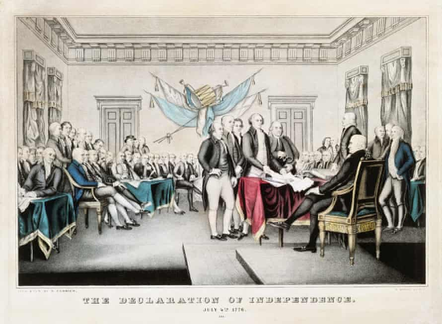 The founding fathers sign The Declaration of Independence
