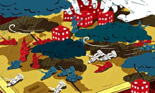 Eva Bee illustration of a turbulent game of risk