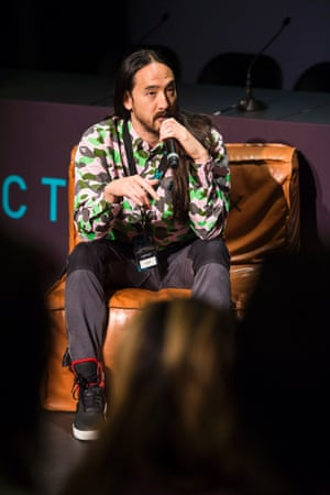 Steve Aoki speaks at the opening of the 2014 Electronic Music Conference.