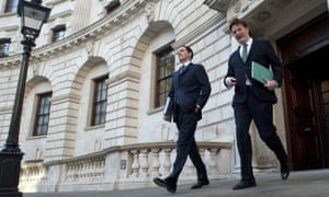 George Osborne and Danny Alexander leave the Treasury yesterday ahead of the autumn statement