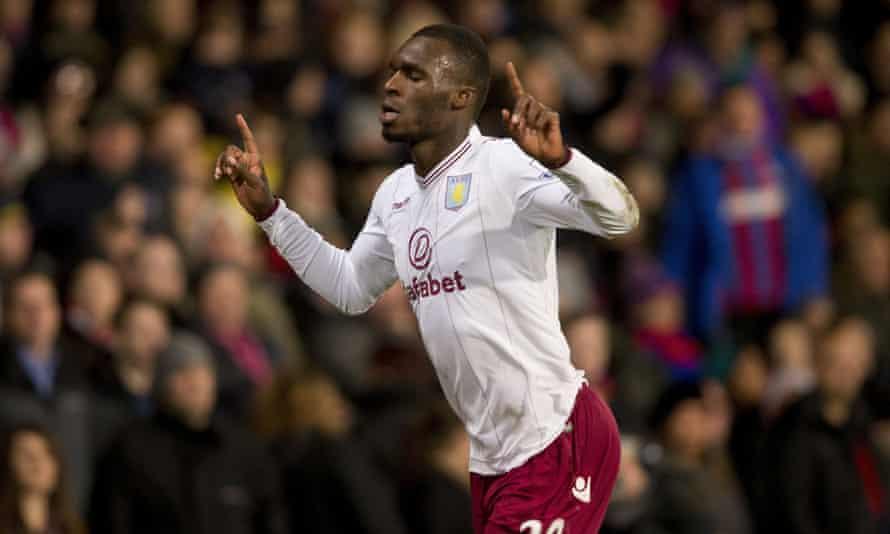 Aston Villa's Christian Benteke celebrates his goal against Crystal Palace at Selhurst Park on Tuesday