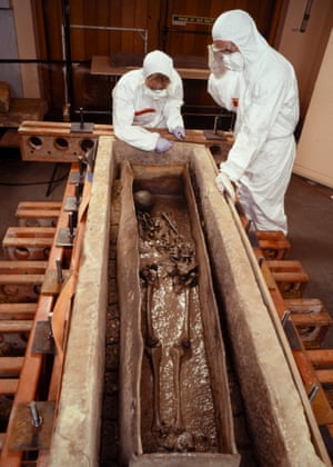 The Roman Lady's coffin is opened at The Museum of London in 1999