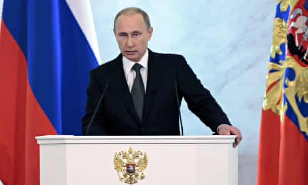 Russian president Vladimir Putin delivers his state of the nation speech