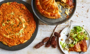 Whole baked Camembert pithivier with celery and walnut oil and a crab omelette with gruyere cheese – perfect for a Christmas starter or for Boxing Day leftovers.