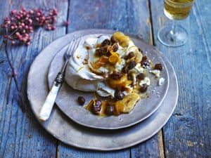 Mace meringue with dried fruit compote and brandy chantilly cream