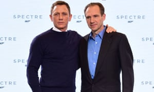 Licence to thrill …Daniel Craig and Ralph Fiennes at the Spectre press conference.