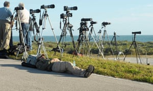 Photographers await the Orion launch.