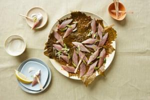 Sardines cured in vine leaves
