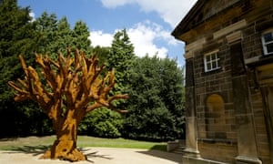 Thomond.  WEST BRETTON, 21st May 2014 - Ai Weiwei in the capel, an exhibition by the Chinese artist at the Yorkshire Sculpture Park's newly refurbished 18th century chapel.   IRON TREE, 2013.  Iron Tree, 2013, a majestic six-metre high sculpture is presented in the chapel courtyard,