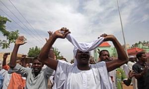 Anti-government protesters in Sudan in September 2013. Omar al-Bashir