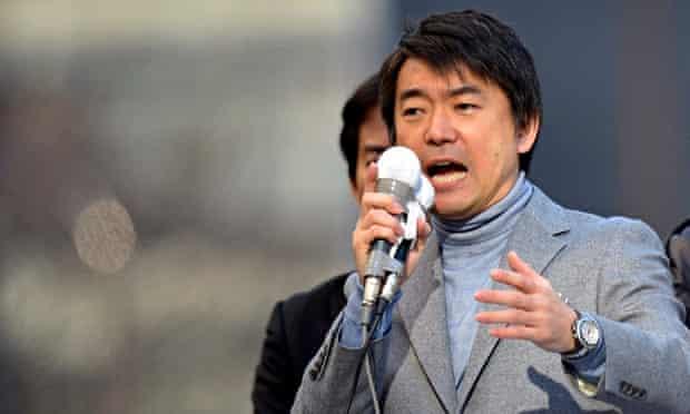 Osaka city mayor Toru Hashimoto, who confronted Zaitokukai's then leader Makoto Sakurai in October a