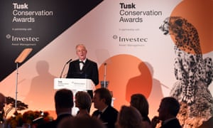 Winner of the Prince William Award for Conservation in Africa Richard Bonham gives a speech at the Tusk Conservation Awards 2014 at Claridge's Hotel on November 25, 2014 in London