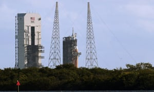 The Orion spacecraft awaits liftoff from the Cape Canaveral Air Force Station in Cape Canaveral, Florida