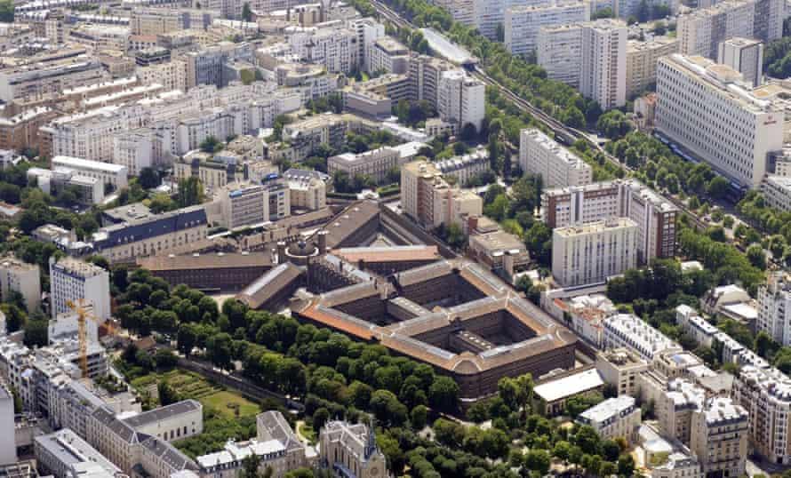 An aerial view of La Santé prison in central Paris.