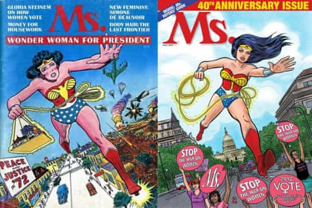 Wonder Woman on the first and 40th-anniversary covers of Ms magazine.